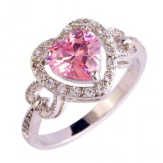 Pink Topaz Heart Outlined in White Topaz