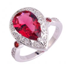 Ruby Spinel Pear Cut Ring