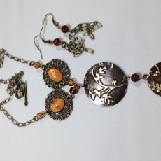 antique bronze embossed necklace and earrings