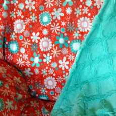 Coral and Turquoise Miky front and Turqoise lattice minky back 60x72