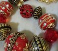 JJ Baubles and Bling Necklace/Red & Gold
