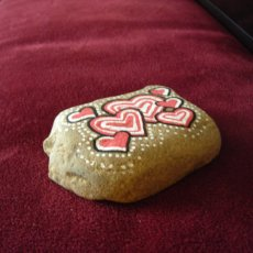 Hand Painted Stone with Hearts Paperweight