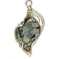 Translucent Green Moss Agate Pendant Wrapped in Sterling Silver Wire
