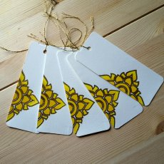 Letterpress and Hand Painted Blank hang gift tag | Gold Outline | Hand painted Thai Pattern Design i