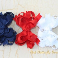 Small Stacked hair bows trio Red, blue and white  infant toddler