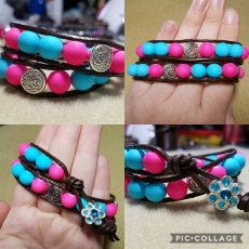 Beaded Leather Double Wrap