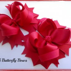 Red Medium  stacked hair bows . choose color alligator clip 4 inches.Set of 2