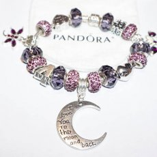 I Love You To The Moon and Back Purple Passion Pandora Bracelet