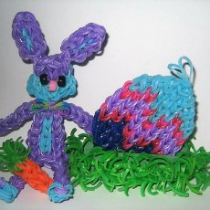 Handmade Loom Band Easter Bunny w/loom band Easter Egg Decoration/Display