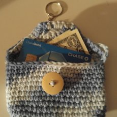 Crocheted Coin Purse on a Key Chain.  Great for the beach.