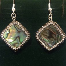 Abalone Druzy and Rhinestone Earrings