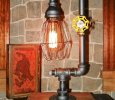 Handcrafted retro Industrial Pipe Lamp with valve on/off switch