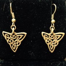 Antique Gold Tone Pewter Celtic Knot Triangle Earrings