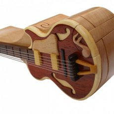 Electric Guitar Intarsia Handmade Puzzle Box