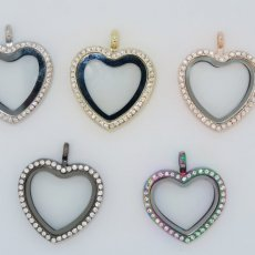 Locket: Hearts : Gold, rose gold, gun metal, silver rhinestone
