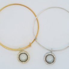 Locket Bangle Bracelet: Silver, gold and gun metal