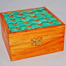 Turquoise woven glass Trinket Box in Honey Colored wood