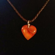 Cinnebar Agate Heart on Sterling with Brown Braided Leather Necklace & Sterling Clasp