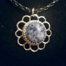 Timeless Heirloom Sodalite and Sterling Pendant on Braided Leather Necklace w Sterling Silver Clasp