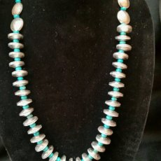 Mercury dime and turquoise necklace
