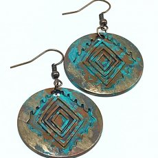 Painted Earrings, Aztec Inspired Earrings, Tribal Earrings, Dangle Earrings