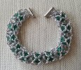 Captured Green Glass Chain Maille Bracelet with Matching Earrings