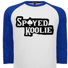 Spayed Koolie Raglan Blue sleeve logo baseball shirt