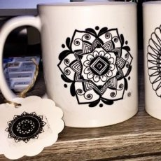 11oz hand drawn floral collection. printed double sided.