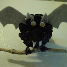 Halloween black bat pinecone