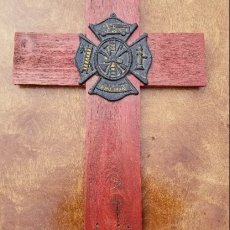 Red Firefighter Wooden Cross