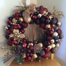 Elegant Burgandy, Brown, and Gold Wreath