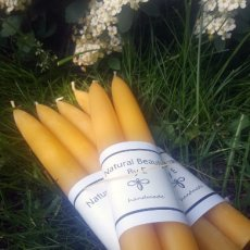 Four Pairs Pure Beeswax Candles, Handmade, 8 inch tapers
