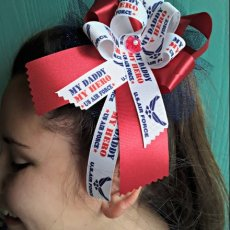 My Daddy My Hero U.S. Air Force Bow on a hair clip