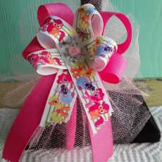 """My Little Pony"" with Stripes, Multi-color Ribbon Bow Headband"
