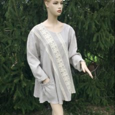 Linen lagenlook plus size clothing neutral linen blouse, relax loose fit tunic, crochet trimed