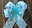 """White with Aqua Polka Dots"" Large Ribbon Hair Clip"