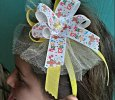 Happy Easter Multi-Color with Yellow Handmade Ribbon Bow