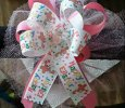 """Happy Easter"" Multi-Color with Light Pink Handmade Ribbon Bow"