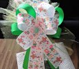 """Happy Easter"" Multicolor With Green Handmade Ribbon Bow on Headband"