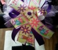 """Easter Flower"" Multi-Color Handmade Ribbon Bow on Headband"