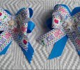 """ Jesus Loves Me"" Set of 2 Aqua Handmade Ribbon Bows on Clips"