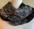 Infinity Scarf - Paisley - Black & White with Diamonds