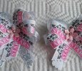 """Always Reach For The Stars"" set of 2 Ribbon Bows on Hair Clips"