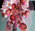 """Dora The Explorer"" Handmade Pink Ribbon Bow on Headband"
