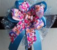 """Disney Babies"" Handmade Aqua Ribbon Bow on Headband"