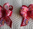 """Strawberry Shortcake"" Set Of 2 Ribbon Bows Hair Clips"