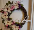Beautiful Welcome Grapevine with Flowers Wreath