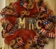 Beautiful Patriotic Wreath with America in the middle.