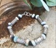 Scrolled Sterling Silver Beaded Bracelet