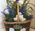Spring Basket with Blue Flowers